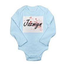 Jazmyn Artistic Name Design with Hearts Body Suit