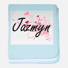 Jazmyn Artistic Name Design with Hear baby blanket