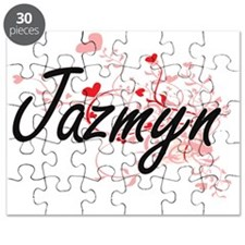 Jazmyn Artistic Name Design with Hearts Puzzle