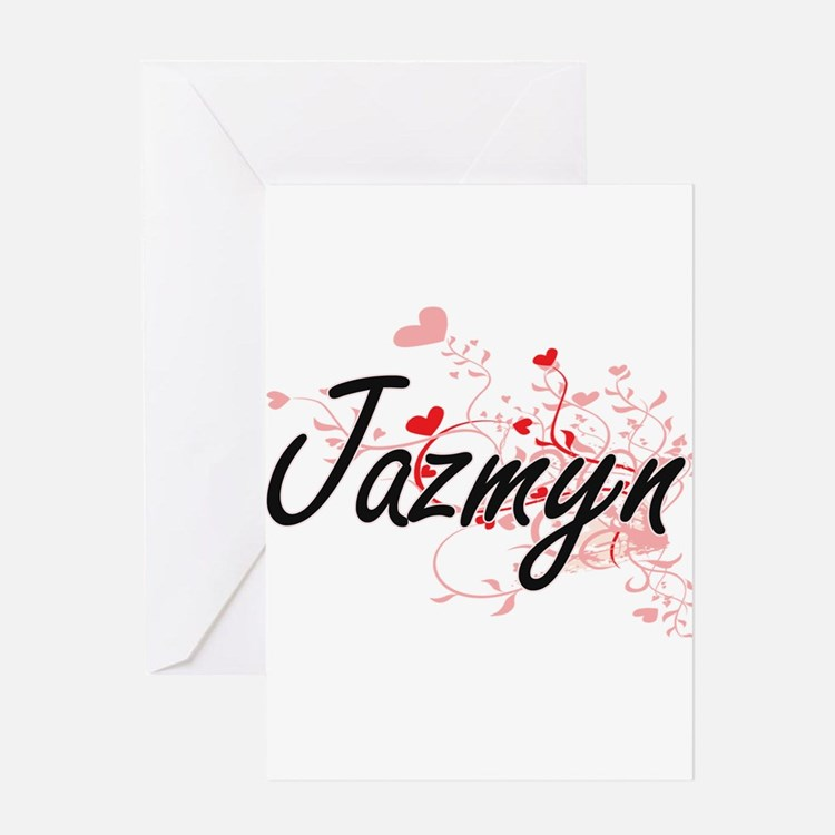 Jazmyn Artistic Name Design with He Greeting Cards