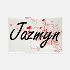 Jazmyn Artistic Name Design with Hearts Magnets