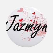 Jazmyn Artistic Name Design with Ornament (Round)