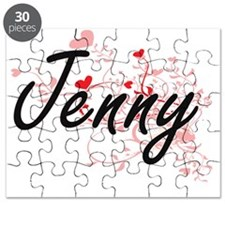 Jenny Artistic Name Design with Hearts Puzzle