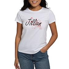 Jillian Artistic Name Design with Hearts T-Shirt