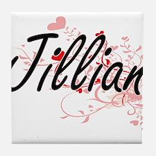 Jillian Artistic Name Design with Hea Tile Coaster