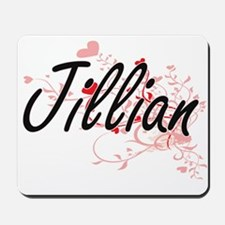 Jillian Artistic Name Design with Hearts Mousepad