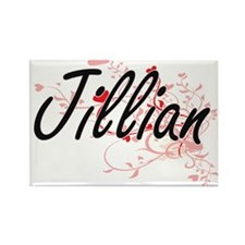 Jillian Artistic Name Design with Hearts Magnets