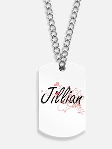 Jillian Artistic Name Design with Hearts Dog Tags