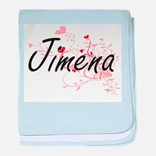 Jimena Artistic Name Design with Hear baby blanket