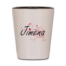 Jimena Artistic Name Design with Hearts Shot Glass