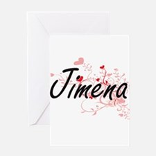 Jimena Artistic Name Design with He Greeting Cards