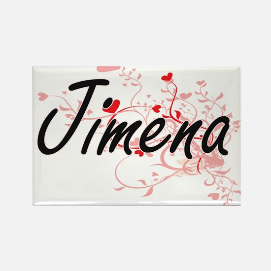 Jimena Artistic Name Design with Hearts Magnets
