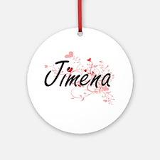 Jimena Artistic Name Design with Ornament (Round)