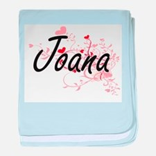Joana Artistic Name Design with Heart baby blanket