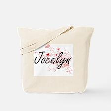 Jocelyn Artistic Name Design with Hearts Tote Bag