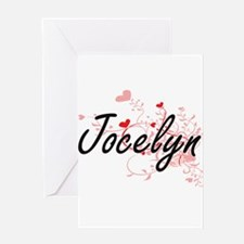 Jocelyn Artistic Name Design with H Greeting Cards