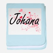 Johana Artistic Name Design with Hear baby blanket