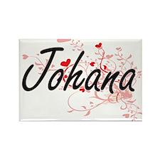Johana Artistic Name Design with Hearts Magnets
