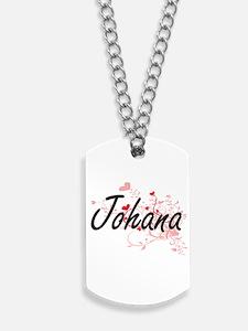 Johana Artistic Name Design with Hearts Dog Tags