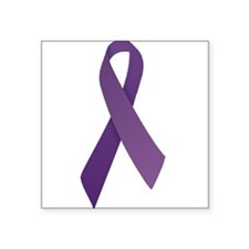 "Unique Purple ribbon Square Sticker 3"" x 3"""