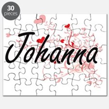 Johanna Artistic Name Design with Hearts Puzzle