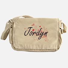 Jordyn Artistic Name Design with Hea Messenger Bag