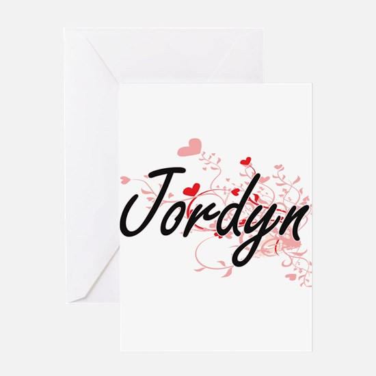 Jordyn Artistic Name Design with He Greeting Cards