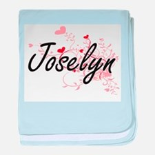 Joselyn Artistic Name Design with Hea baby blanket