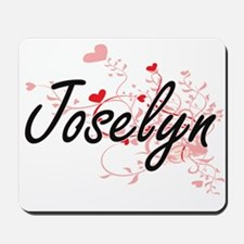 Joselyn Artistic Name Design with Hearts Mousepad