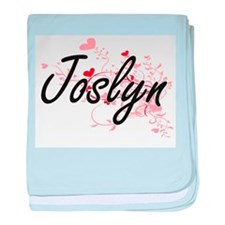 Joslyn Artistic Name Design with Hear baby blanket