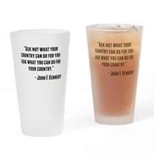 John F. Kennedy Quote Drinking Glass