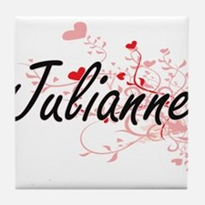 Julianne Artistic Name Design with He Tile Coaster