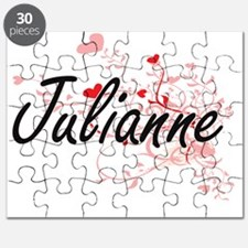 Julianne Artistic Name Design with Hearts Puzzle
