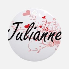 Julianne Artistic Name Design wit Ornament (Round)