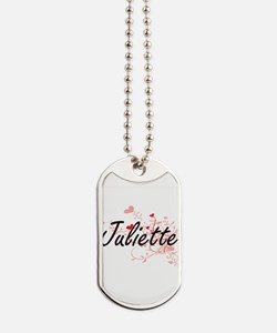 Juliette Artistic Name Design with Hearts Dog Tags