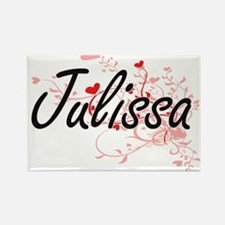 Julissa Artistic Name Design with Hearts Magnets