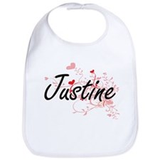 Justine Artistic Name Design with Hearts Bib