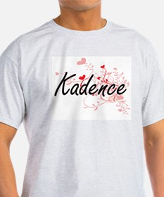 Kadence Artistic Name Design with Hearts T-Shirt