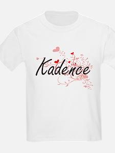 Kadence Artistic Name Design with Hearts T-Shirt