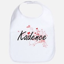 Kadence Artistic Name Design with Hearts Bib