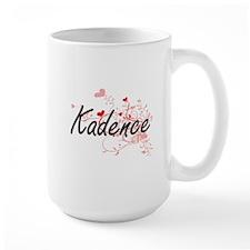 Kadence Artistic Name Design with Hearts Mugs