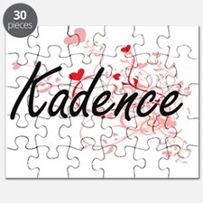 Kadence Artistic Name Design with Hearts Puzzle
