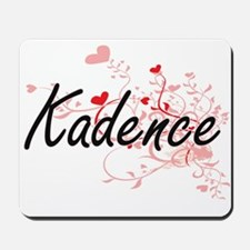 Kadence Artistic Name Design with Hearts Mousepad