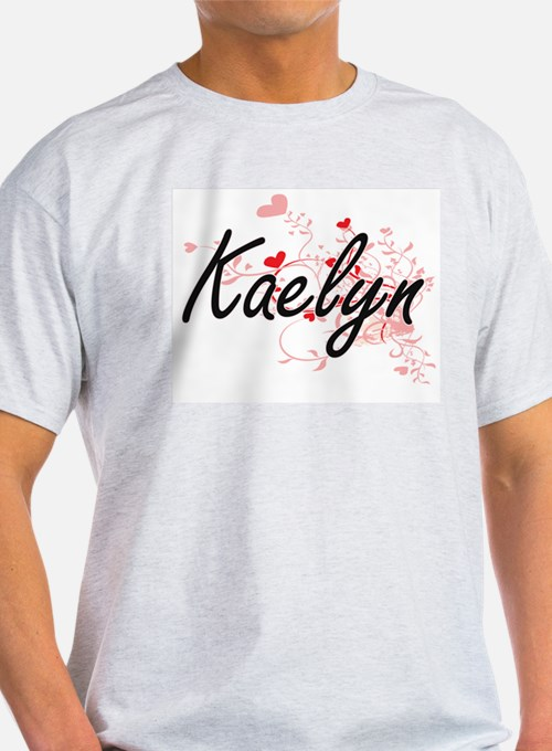 Kaelyn Artistic Name Design with Hearts T-Shirt