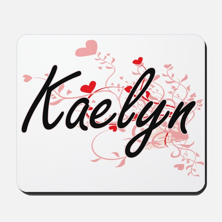Kaelyn Artistic Name Design with Hearts Mousepad