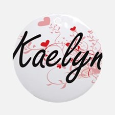 Kaelyn Artistic Name Design with Ornament (Round)