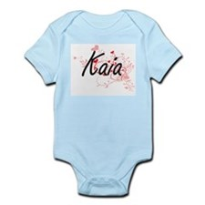 Kaia Artistic Name Design with Hearts Body Suit