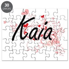 Kaia Artistic Name Design with Hearts Puzzle