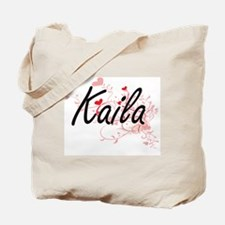 Kaila Artistic Name Design with Hearts Tote Bag