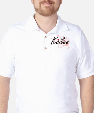 Kailee Artistic Name Design with Hearts Golf Shirt